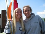 AmeriCorps members Heather Nichols and Jamey Chapman at the 2008 Groundbreaking of the B-Line Trail (Bloomington, IN)
